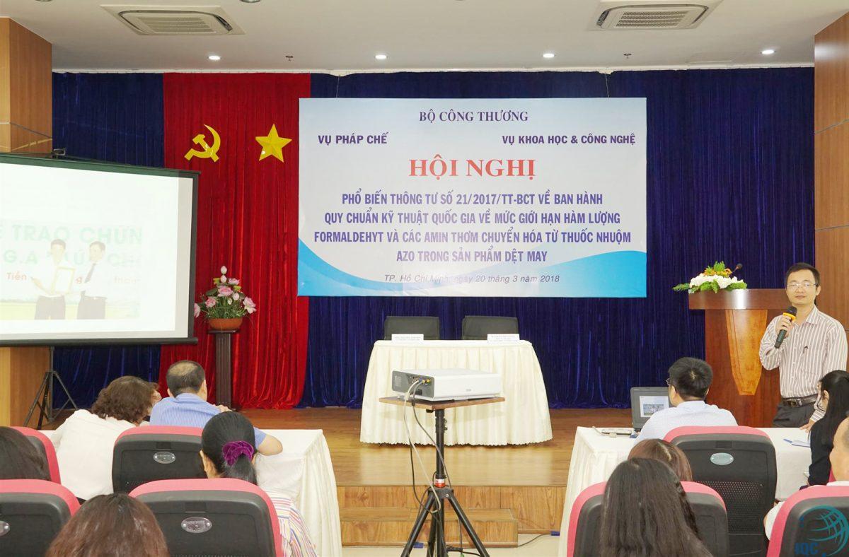 Ông Vũ Đức Trung, Tổng Giám đốc Công ty Cổ phần Chứng nhận và Giám định IQC phát biểu tại Hội nghị.