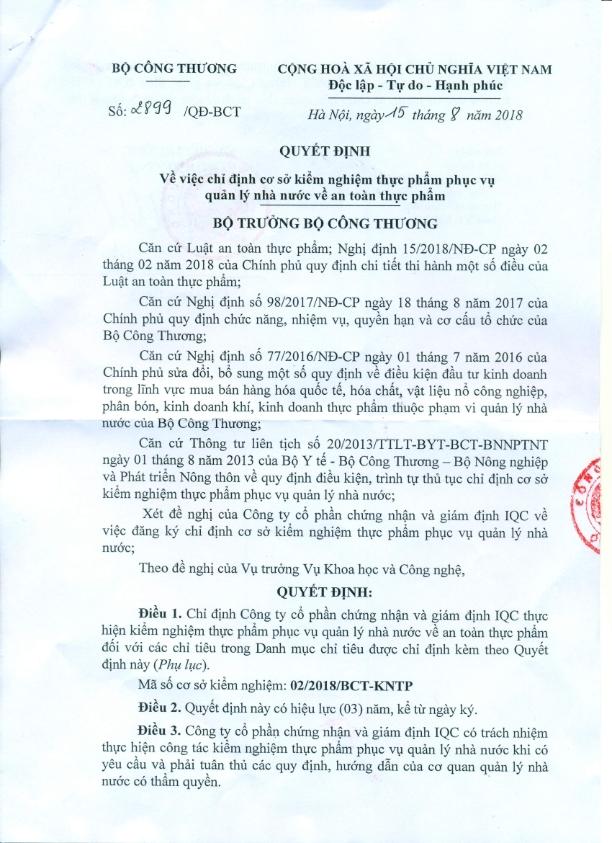 2899. Quyet dinh chi dinh co so kiem nghiem thuc pham BCT_001