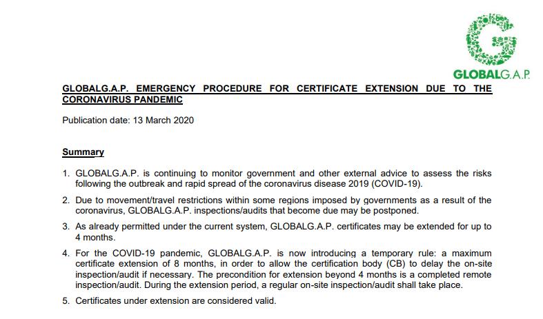 covid-19, coronavirus, globalgap, extend certitifcate, globalgap certificate